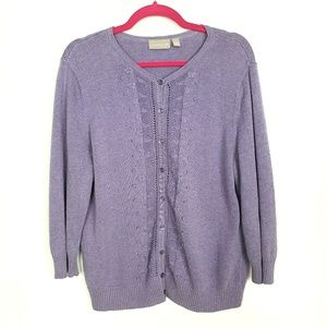Croft & Barrow L Sweater Cardigan Purple Cotton